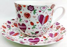 Chic Hearts Large Cup & Saucer Bone China Multi Colour Breakfast Set Decorate UK