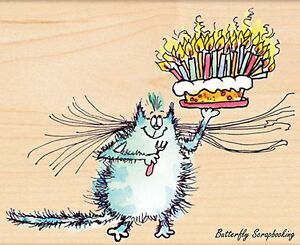 Birthday Whiskers CAT Wood Mounted Rubber Stamp PENNY BLACK - NEW, 4387K
