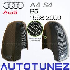 100% Carbon Fiber Car Side Mirror Cover Audi A4 S4 B5 1998 1999 2000 TU Black