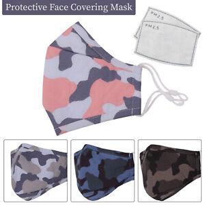 Face Mask Reusable Washable Triple Layer Ladies/Men Adult Camouflage Mouth Masks