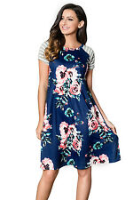 Abito Maglia Stampa Floreale Ballo Cocktail Casual Floral Print T-shirt Dress S