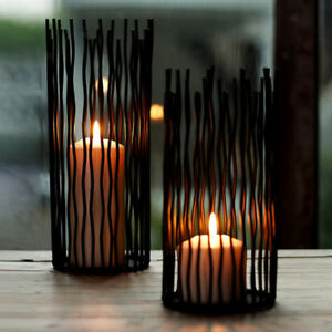 Romantic Black Iron Tea Light Candle Holder Candlestick Stand DIY Decor_S