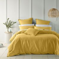 Wellington Quilt Cover Set Gold by Bianca | Luxuriously soft linen/cotton yarns