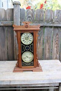 water bury clock co. double dial calendar no. 44 shelf clock