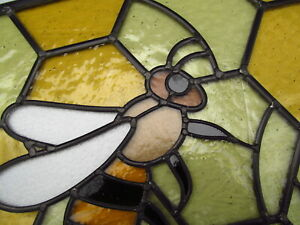 Newly crafted Traditional Stained Glass Window Panel HONEY BEES 443mm by 492mm