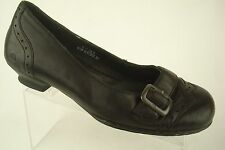 Born Leather Ballet Slip On Heel Comfort Black Womens Shoes Buckle Sz 6 M/W