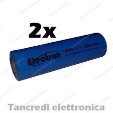 2X Batteria pila litio li-ion lir icr 18650 3.7v 2600mAh pin piatto flat top