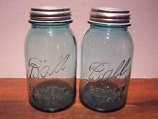 2 Blue Ball Perfect Mason Quart Jars with Zinc Lids Vintage NICE Condition