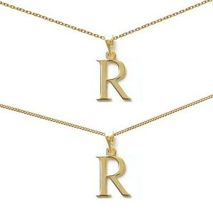 Pendant Man Initial Letter R Gold Plated+Chain
