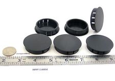 "100 Locking Rigid Plastic Hole Plugs - Fit 1 3/4"" Diameter Opening - Black Nylon"
