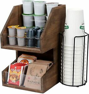 Wooden Coffee Tea Brew Station Condiments Holder Organiser 2 Tier Holders Stands