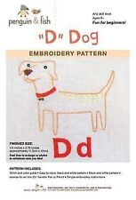 D is for Dog embroidery pattern by Penguin Fish FREE SHIPPING