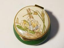 Vintage COUNTRY DIARY JULY POND Staffordshire Enamel Trinket Pill Box Boxed #35
