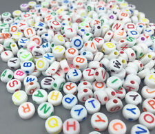 200X Mixed Round Acrylic Letter/ Alphabet Spacer Beads 7x 7mm