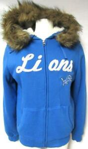 Detroit Lions Womens Small Full Zip Embroidered Hooded Sherpa Jacket B1 305