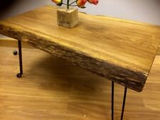 Hand Made Old Oak Plank coffee table Rustic , Reclaimed wood Folding Legs