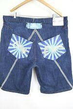 "VTG Evisu Heritage Mens sz 42 Dark Wash Denim 13"" Inseam Jeans Shorts Jorts"