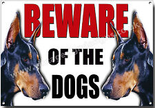A4 Size Doberman Beware of The Dogs Metal Sign Security Warning Guard Dog Sign.