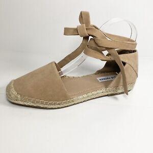 Steve Madden Rosette Women's Espadrilles Ankle Tie Tan Suede Size 8 M EUC