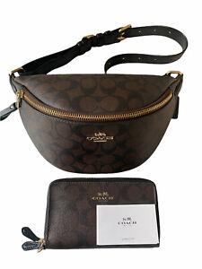 COACH Signature Pvc Brown Black Fanny Pack Belt Bag Double Zipper CC Wallet Set