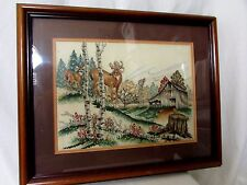 "Cross Stitch Pic Stoney Creek ""Wary Approach"" Framed Completed Deer Lodge Cabin"
