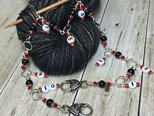 Red & Black Knitting Counter-  1-10 Chain Counter- Numbered Stitch Markers