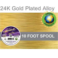 "Soft Flex 24K Gold Plated .019"" Medium Extreme Beading Jewelry Design Wire 10Ft"