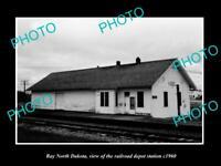 OLD LARGE HISTORIC PHOTO OF RAY NORTH DAKOTA, THE RAILROAD DEPOT STATION c1960