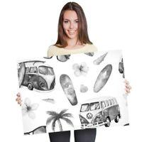 A1 - Camper Van Surfing Surf Bus 60X90cm180gsm Print BW #40881