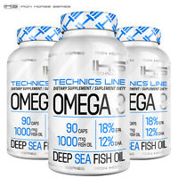 OMEGA 3 Supplement - 1000 mg Deep Sea Fish Oil Concentrate EPA DHA Heart Health