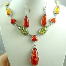 Precious Modernist COGNAC YELLOW GREEN PRESSED AMBER earrings NECKLACE set P43
