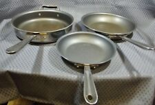 """All-Clad D5 Non-Stick Stainless Steel 3 pc Frying Pan Set 8"""" 10"""" 3 Qt Cookware"""