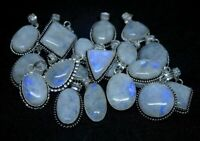 Rainbow Moonstone Gemstone 925 sterling silver plated pendants lots 5PCSBN-281