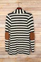 x BLACK Beige STRIPED CARDIGAN Jacket Elbow Patch Long Sleeve 1X 2X 3X PLUS SIZE