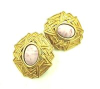 Monet Pink Gold Large Clip Earrings Marbled Cabachon Art Deco Inspired