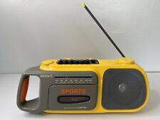 Vintage Sony Sports CFM-104 AM,FM Cassette Player Portable Yellow. Works great!