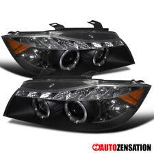 For 2006-2008 BMW E90 3-Series Black LED Halo Rim Projector Headlights Lamps