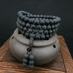 10mm Tibetan Buddhism 108 Black Amber Beads Mala Necklace