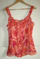 Per Una Woman's Pink Semi-Transparent Buttoned Sleeveless Top Blouse Size 14