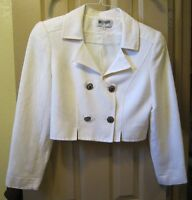 SZ 10 MOSCHERY WOMENS WHITE LINEN CROP JACKET BLAZER, LINED DOUBLE BREASTED, GUC