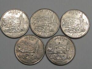 5 ERROR 2008 Arizona State Quarters. (Die Break: Cactus Chip).  #37