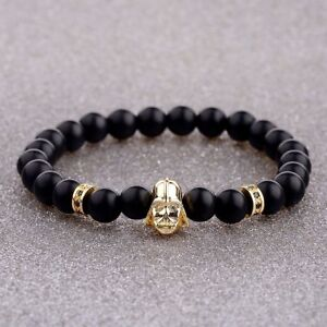 Men Bracelets Black Onyx Stone Zircon Star Wars Darth Vader 8mm Bead Bracelets
