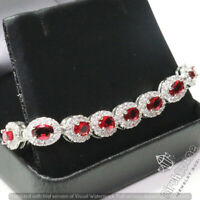 Shinning Red Ruby Diamond Halo Tennis Bracelet Wedding Anniversary Jewelry Gift
