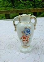 "Vtg. Small Vase Urn Style Double Handles White W/Flowers Gold Trim Japan  3 1/2"""