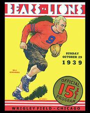 Chicago Bears Poster of Game Program from 1939 vs Lions, 8x10 Photo
