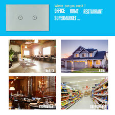 2Pcs US 2Gang Home Smart Wall Light WiFi Switch Touch Panel Voice Remote Control