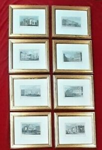 22 X HAND COLOURED ENGRAVINGS AROUND REGENTS PARK C.1828 FRAMED & MOUNTED SELECT