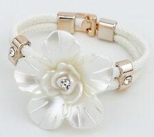 Charm Crystal Big White Flower Bracelet Cream Leather Bangle Cuff Women Jewelry