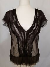 Per Una M&S Sheer Top - Size 18 - Brown - Short Sleeve - Ruffled