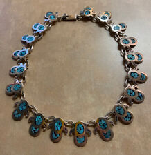Inlay Necklace Mexico Taxco 100g Vintage Sterling Silver and Turquoise